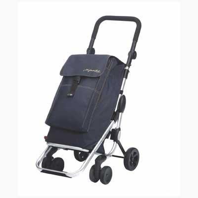 Einkaufstrolley aus Alu mit 4 Rädern und Thermofach Playmarket Go Up Jeans