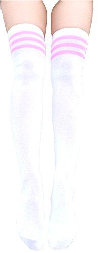krautwear Damen Mädchen Kinder Cheerleader College Kniestrümpfe 3 Streifen Gestreifte Overknees...