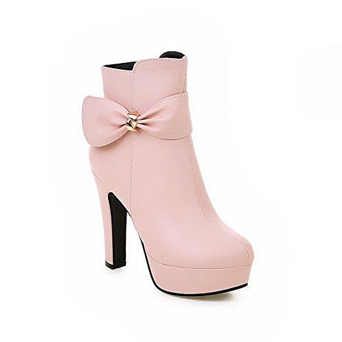 AgooLar Damen Reißverschluss PU Mittler Absatz Rund Zehe Stiefel, Pink, 35