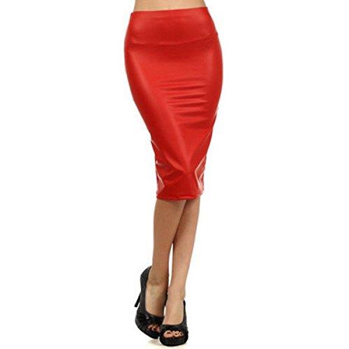 West See Frauen Rock Bleistift Bleistiftrock High Waist Bodycon Elastisches Taillenband Midi Rock (XL, Rot)
