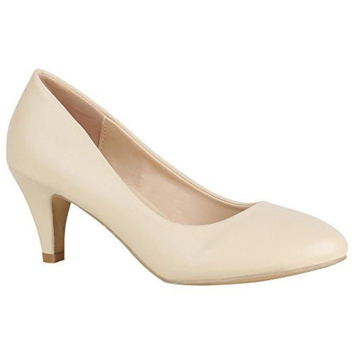 Klassische Damen Pumps Leder-Optik Schuhe Stiletto Mid Heels Basic Abendschuhe Kleiner Absatz 156076 Creme Avelar Basic 39 Flandell