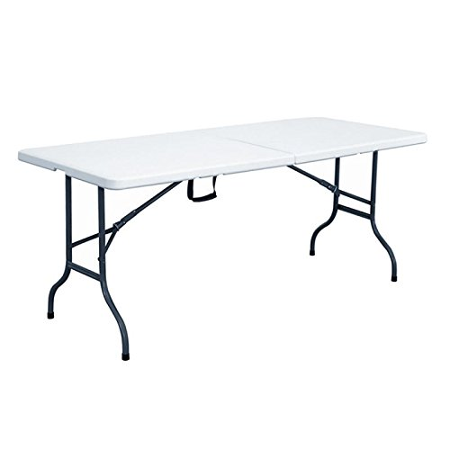 Rekkem Table pliante Blanc/Noir 180 x 75...