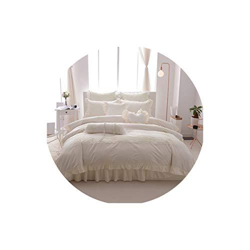 Lovtiful- Lace Bedding Prinzessin Art-Spitze bedskirt Set Twin Queen-King-Size-Bettwäsche-Satz 100% Cotton Soft Bettwäsche Bettbezug-Set Bettwäsche-Set, 1, Full Size 9Pcs