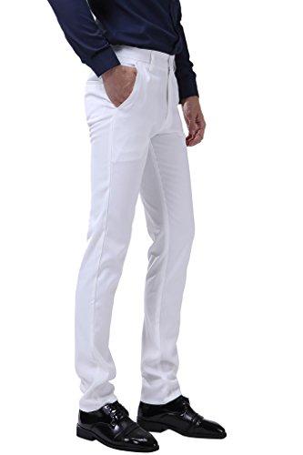 INFLATION Klassisch Herren Slim Fit Schnitt Anzughose Men's casual pants Business Hose Reine Farbe Anzugsuit Hose Smoking Hose, 10 Farben verfügbar Weiß