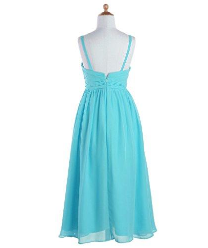 Fashion Plaza Mädchens Elegant schmalen Trägern A Line Chiffon Blumenmädchen Kleid K0095 Türkis