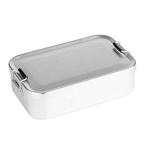 DYTJ-Lunchbox Bento Box Brotdose Aluminium Lunch Food Container Bento Box, Auslaufsicher, Gesund, Kinder, Erwachsene, Picknick Im Freien - Silber, Mit Schnalle, Mit Schnalle (Für Kinder Aluminium-lunch-boxen)