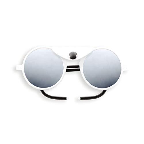 Izipizi Paris | LetmeSee #SUN GLACIER Full White| Sonnenbrille zum Skifahren und fürs Gebirge - 100% UV-Schutz der Kategorie 4 | Universelles Unisex-Modell - Runde Form - Ohne Korrektur