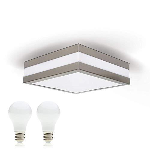 LED Deckenleuchte Bad-Lampe Aussen-Leuchte PROVANCE E27 230V IP44 (inkl. 2x LED 10W Warmweiss) LED Lampe Wandleuchte LED-Deckenleuchte Außenleuchte Wandstrahler LED Leuchte Aussenbeleuchtung Wohnzimmerlampe für Badezimmer Küche Flur Badlampe Badleuchte Eckig Quadratisch