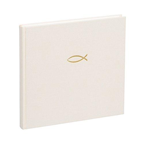 Semikolon (353543) Gästebuch Creme mit Fischprägung | Gäste-Buch für Konfirmation, Kommunion, Taufe u. Kirchen | 240 blanko Seiten