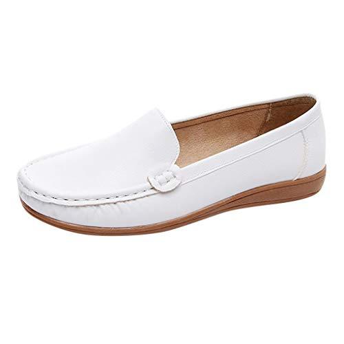 Lonshell Damenschuhe Slipper Erbsen Schuhe für Schwangere Frauen, Casual Bootsschuhe Leder Loafers Flache Schuhe, Weiche Halbschuhe Mokassins Freizeitschuhe Wohnungen Schuhe (Brautjungfern Schuhe Wohnungen)