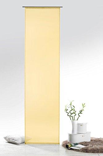 Fashion&Joy - Schiebegardine Voile hellgelb HxB 245x60 cm mit Zubehör - transparent einfarbig - Flächenvorhang gelb Schiebevorhang Gardine Typ418