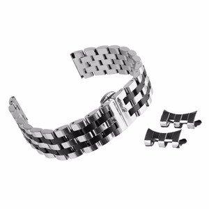 Beauty7 Unisex Edelstahl Uhrenarmband Schwarz/Silber mit Faltschließe Gerade/Kurve Anstoß Länge Verstellbar mit/ohne Werkzeug WBL00097b