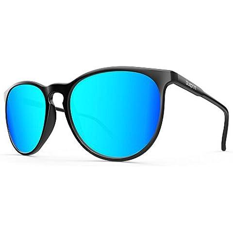 Blue print Elba // Black Midnight, Nero Opaco con vetro blu a specchio occhiali da sole polarizzata