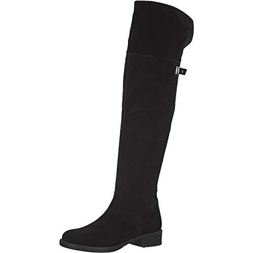 Tamaris Damen Stiefel 75811-23, Frauen Overknee Stiefel, Freizeit Overknee-Boots lederstiefel Flacher Absatz reißverschluss Lady,Black,40 EU / 6.5 UK