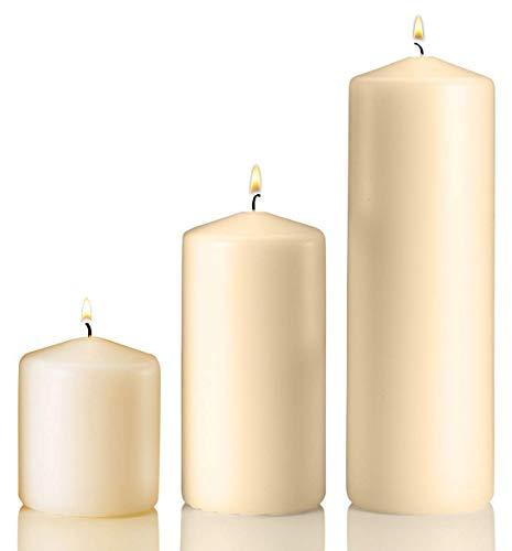 Light in the Dark Lumière dans l'obscurité Lot de 3 Bougies Pilier Ivoire 3 x 3 x 3 x 6 x 3 x 9