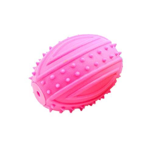 Hund Toy Ball TPR Rubber Material Rugby Stil umweltfreundlich Nicht-Toxic Tasteless Bite Klang Molar DREI Farbe Optional,Pink -