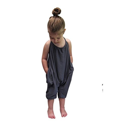 Bekleidung Longra Kleinkind Kind Baby Mädchen Riemen Overalls Stück Hosen Rompers Jumpsuits Mädchen SommerKleidung(1-6Jahre) (130CM 5-6Jahre, Gray) (Baby-mädchen-shirt-labels)