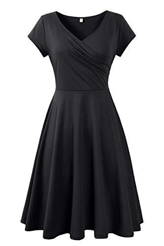 Genhoo Damen Casual Kleid A-Linie Sommerkleider Kurzarm V-Ausschnitt Wickelkleid Vintage Abendkleid Skaterkleid Rockabilly Kleider Knielang