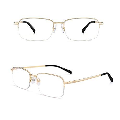 Lesebrille Halbrand Metall mit Strahlenschutz | Ultraleichtes Reintitan | Anti-Blaulicht | Ältere Brillen | für Männer und Frauen (Gold/Schwarz/Grau)