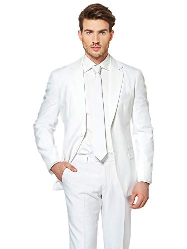 OppoSuits White Knight Solid White Suit For Men Coming With Pants, Jacket and Tie - 100% Money Back Guarantee, EU 54