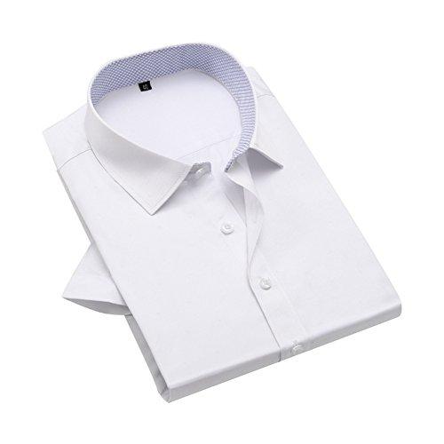 Bmeigo Uomo Slim Fit Point Printed manica corta Camicie classiche -H09 White