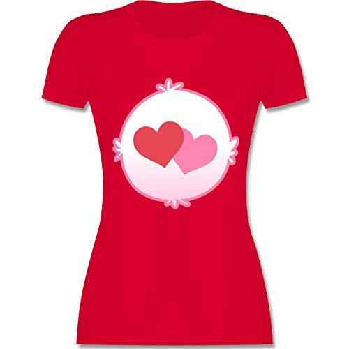 Karneval & Fasching - Cartoon-Bärchis Herzen - L - Rot - L191 - Damen Tshirt und Frauen T-Shirt