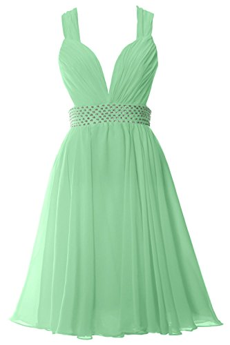 MACloth Women Straps V Neck Chiffon Short Prom Party Dress Sexy Formal Gown Menthe