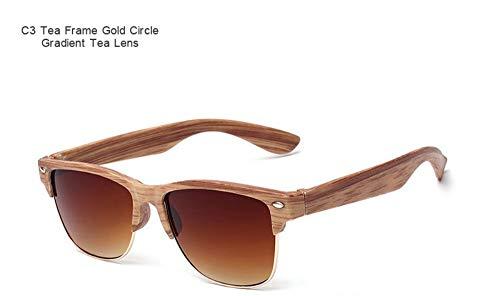 WDDYYBF Sonnenbrillen, Casual Fgrayion Classic Comfort Frame Holz Sonnenbrille Frauen Männer Holz- Brille Riet Brillen U 400 Braun Rahmen Gold Circle Farbverlauf Braun Linse