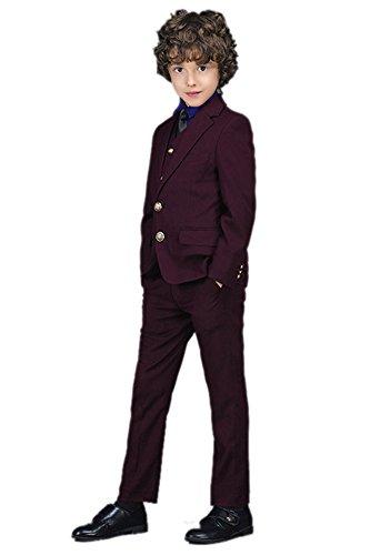 Icegrey Festlicher Jungen Anzug Smoking Kleiner Gentleman mit Zwei Knöpfen Formale Klage 3-Stück Set Weinrot 12 Jahre 160CM (2-knopf-smoking)