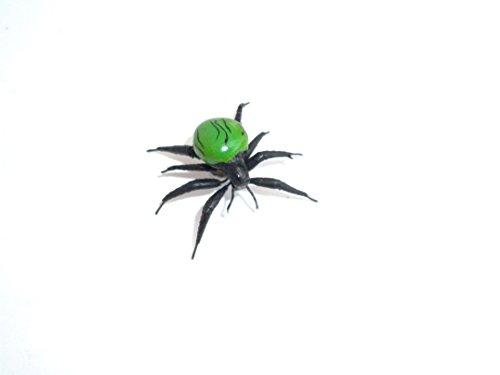 grüne Minispinne mit Streifen - Spinnenmagnet, magnetische Spinne, Insektenmagnet, Dekomagnet Halloween (Grünen Spider Streifen)