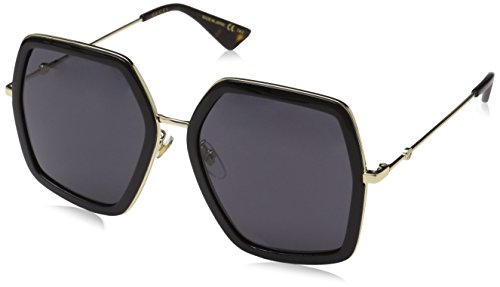 Gucci Damen GG0106S 001 Sonnenbrille, Schwarz (Black/Grey), 56