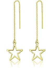 7acf0cf35216 DTPSilver - Pendientes de estrella chapados en oro amarillo y plata de ley  925