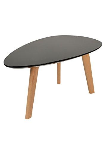 Design Beistelltisch Oval Holz Schwarz MDF Kaffeetisch Couchtisch Nachttisch 80 cm x 38 cm