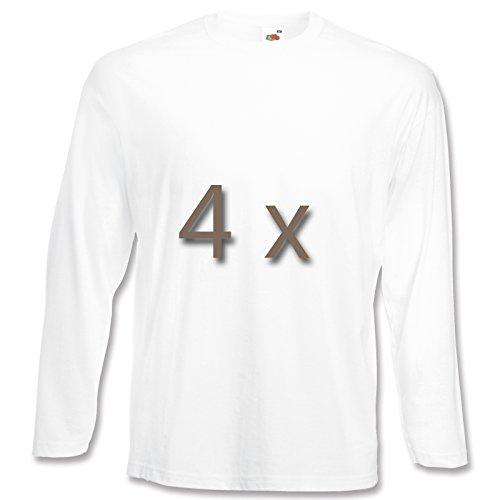 4 Fruit of the Loom T Shirt Longsleeve M L XL XXL Langarm verschiedene Farbsets auswählbar (XXL, Weiss)