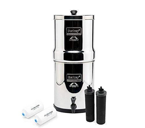 Royal Berkey Water Filter Complete with 2 Black Purifiers Elements With 2 PF-2 Fluoride Filter~Filtration System Stainless Steel