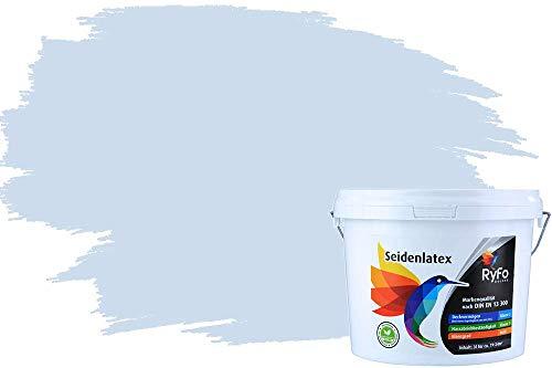 RyFo Colors Seidenlatex Trend Blautöne Wolkenblau 3l - bunte Innenfarbe, weitere Blau Farbtöne und Größen erhältlich, Deckkraft Klasse 1