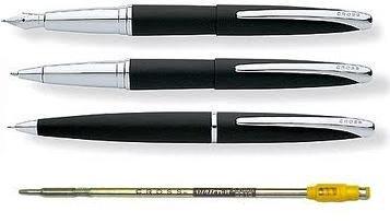 Cross ATX Basalt Black dreifach Schreibset (Füllfederhalter, Tintenroller und Kugelschreiber mit...