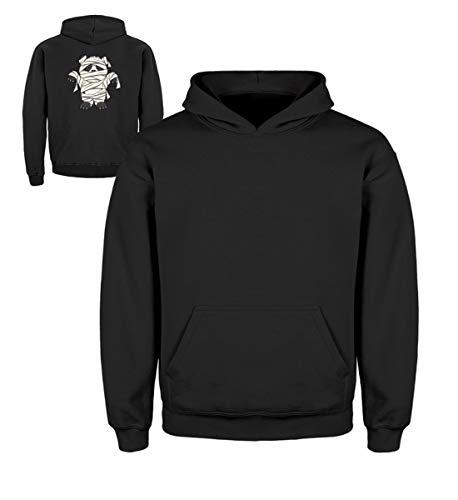 Shirtee Kleiner Pandabär mit Mumie Kostüm - Halloween Design für alle Panda Fans und Bären Freunde - Kinder Hoodie -3/4 (98/104)-Jet Schwarz (Halloween Kleine Bären, Drei Kostüm)