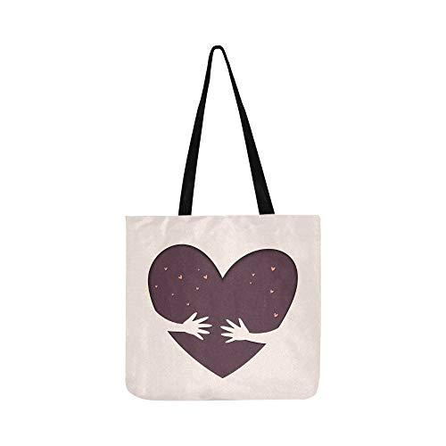 Hände halten Liebe sparen Liebe Leinwand Tote Handtasche Schultertasche Crossbody Taschen Geldbörsen für Männer und Frauen Einkaufstasche
