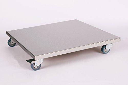 Möbelroller/Pflanzenroller (Profi) 50x50 cm, Edelstahl, 150kg, PU-Rolle + Bremse, Marke: Szagato, Made in Germany (Design-Pflanzenroller Transportroller Rollbrett)