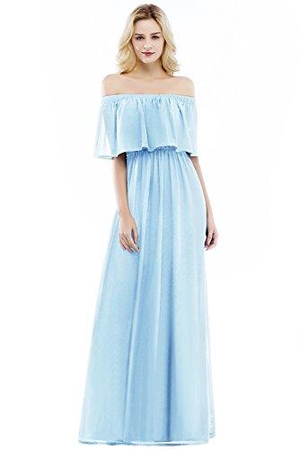 Babyonlinedress Damen Sommerkleid Lang Chiffon Abendkleider Off Shoulder Himmelblau 42