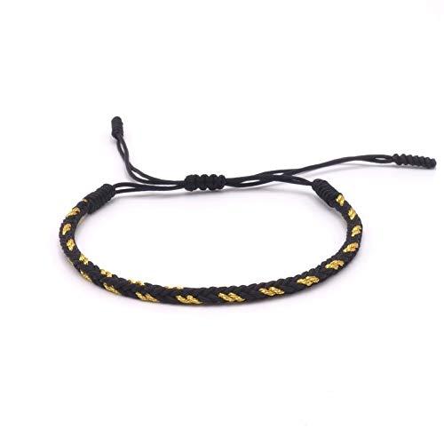 BENAVA Tibetisches Armband Glücksarmband - Freundschaftsarmband Geflochten Schwarz Gold