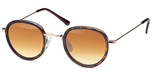 UVprotect unisex Rundbrille John Lennon Style Sonnenbrille mit leicht tropfenförmigem Glas havana W78-3