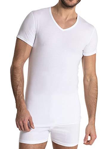 FINN Business Herren Unterhemd Kurzarm mit V-Ausschnitt Micro-Faser Weiß S