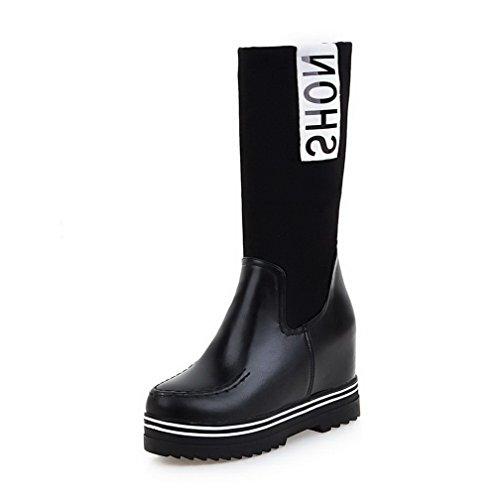 VogueZone009 Damen Ziehen Auf Hoher Absatz Gemischte Farbe Mitte-Spitze Stiefel Schwarz