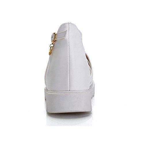 COOLCEPT Femmes Mode T-Strap Escarpins Fille Ecole Bout Ferme Chaussures Blanc