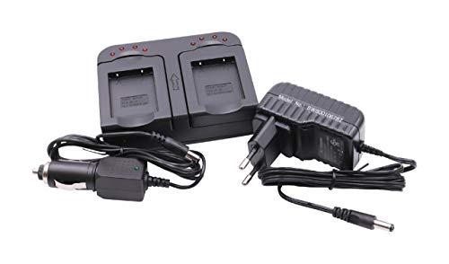 vhbw Schnellladegerät Ladegerät Ladeschale dual 2-Fach inkl Kfz für Akku Medion Action Cam S47015, S47018, MD87005, MD87205 wie AT-S60, FJ-SLB-10a.