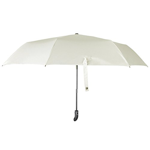 Regenschirm, Regen und Sonnenschirm Automatisch Faltbar mit Schwarzer Anti-UV Beschichtung für Winddicht, Regenschutz & 99% UV Schutz, UPF50 + Reise-Regenschirm(Weiß)YS014