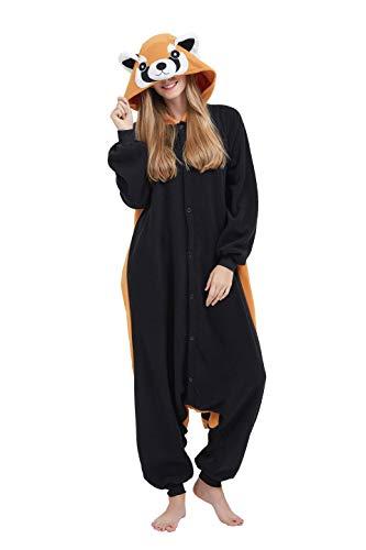 Fandecie Tier Kostüm Tierkostüm Tier Schlafanzug Waschbär Pyjamas Jumpsuit Kigurumi Damen Herren Erwachsene Cosplay Tier Fasching Karneval Halloween (Waschbär, XL:Höhe 180-189cm)
