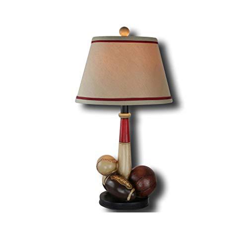 Wapipey 1-light American Vintage Retro Harz Baseball Art Tischlampe Wohnzimmer, Schlafzimmer Bedside Study Stoff Lampenschirm Einfache Schreibtischlampe E27 - Vintage-baseball-art